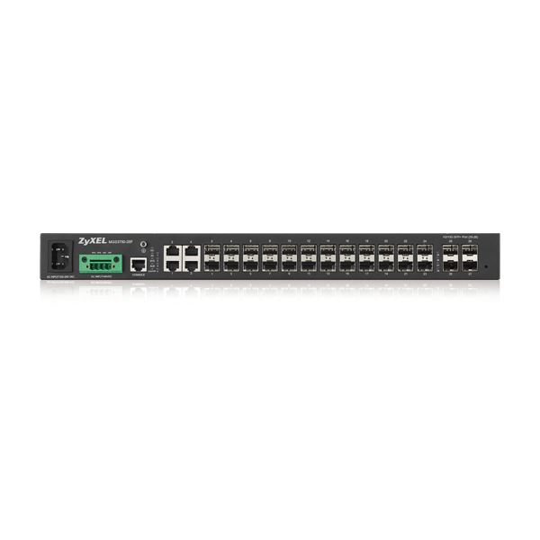 MGS3750-28F, 24-port GbE L2 Switch with Four 10G SFP+ Uplink Ports